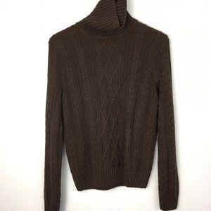 Jean Pierre Brown Knit Cotton Turtleneck Sweater M